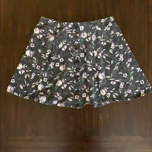 Faded Charcoal Button Front Mini Skirt